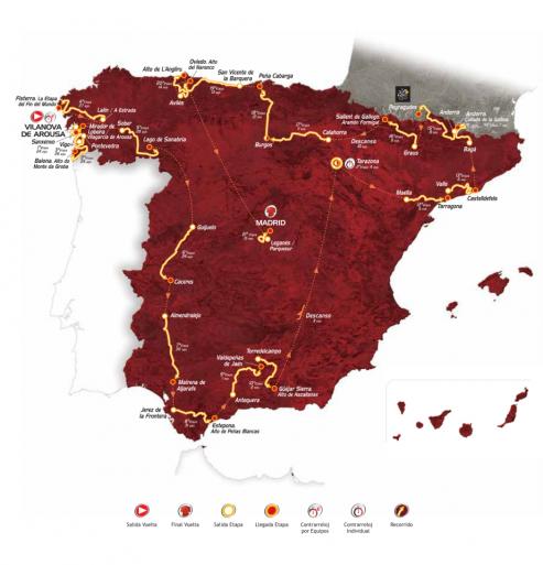 Mapa de la Vuelta Ciclista a España 2013