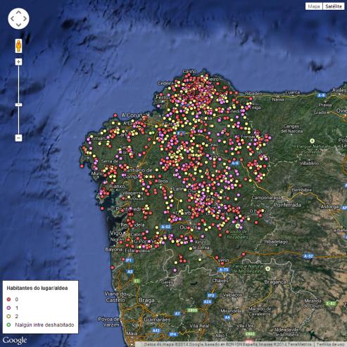Mapa de las aldeas abandonadas en Galicia