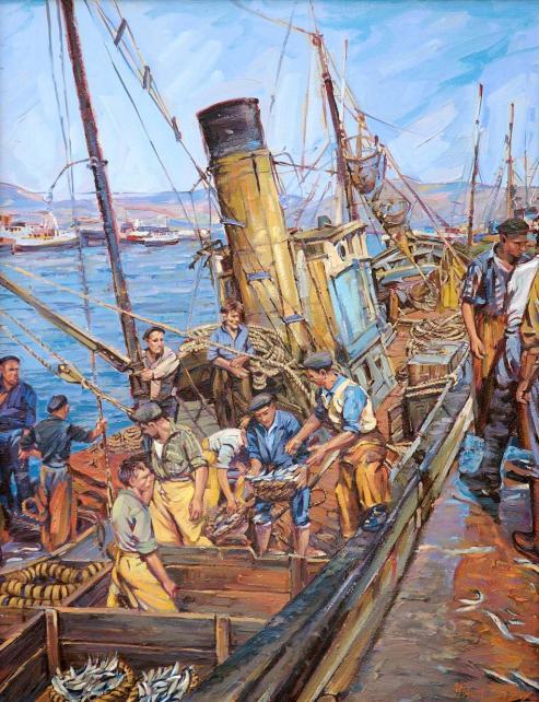 Galicia y su desarrollo pesquero. Cuadro - Pescadores Gallegos Faenando -Miguel Diaz Piqueras
