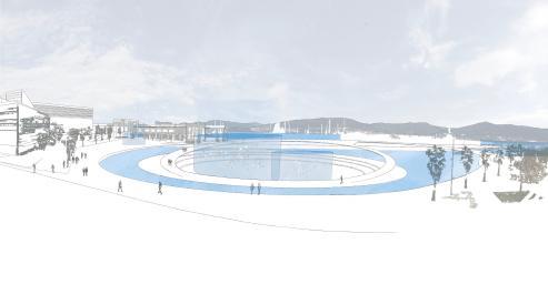 Diseño básico del acuario, instalado en la dársena de A Laxe, sobre el que pivotaría todo el entorno en adelante.