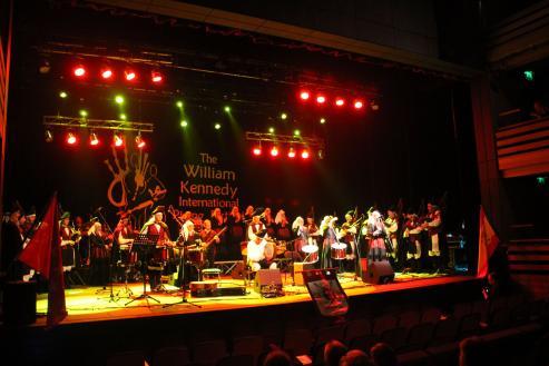 Banda de gaitas de música tradicional gallega